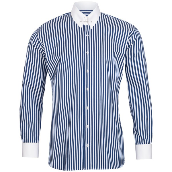 Blau gestreiftes Slim Fit Premium Schaeffer Hemd mit Piccadilly Kragen