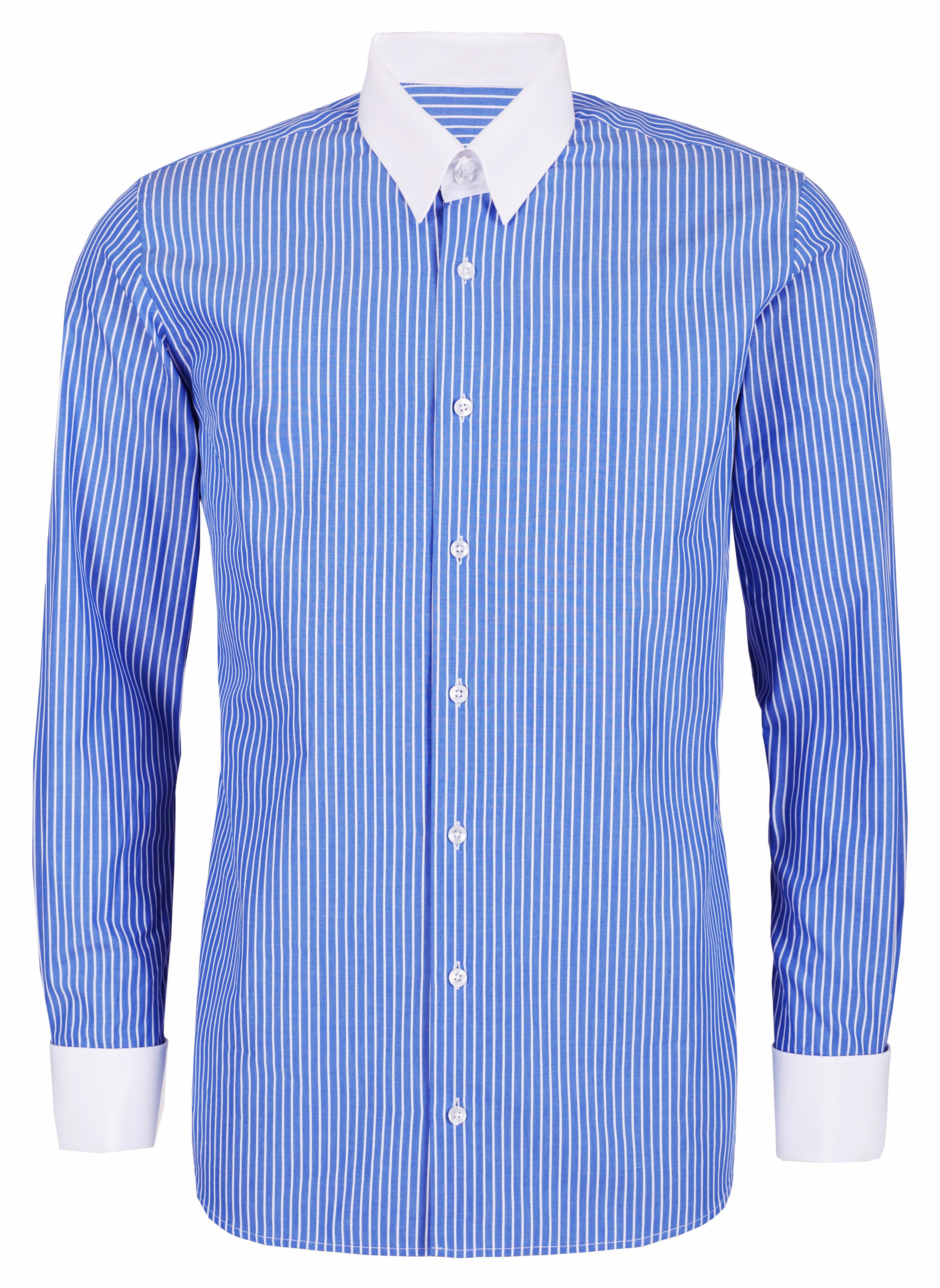 2 Farben blaues Hemd weißem Kragen und Manschetten für