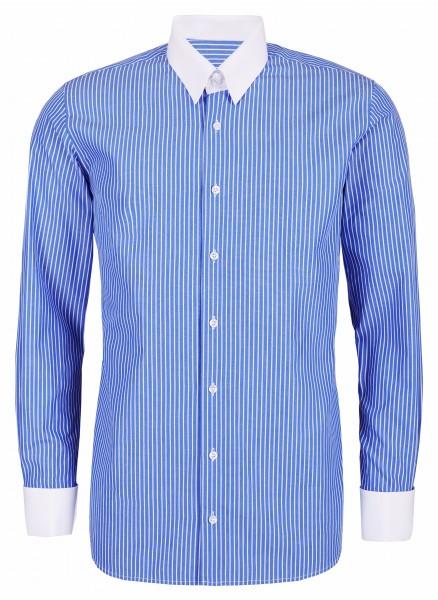 Blau gestreiftes Modern Cut Schaeffer Hemd mit Tab Kragen