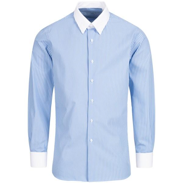 Hellblau gestreiftes Regular Cut Schaeffer Hemd mit Tab Kragen