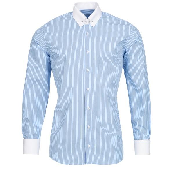 Schaeffer Slim Fit Hemd Hellblau Streifen Piccadilly