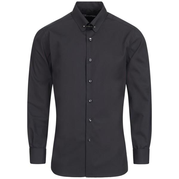 Schwarzes Slim Fit Schaeffer Hemd mit Piccadilly Kragen