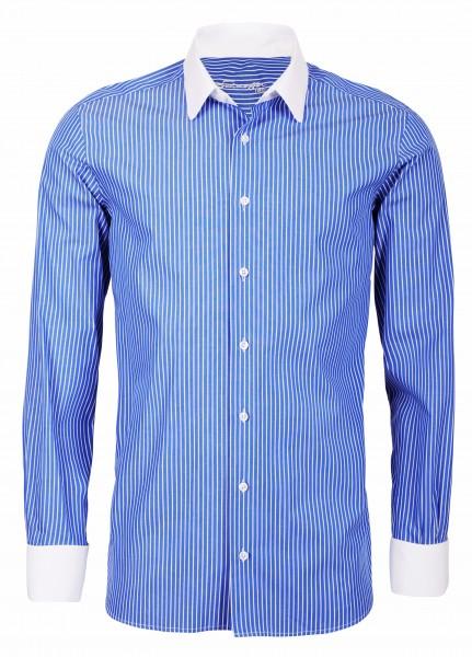 Blau gestreiftes Modern Cut Schaeffer Hemd mit Eton Kragen