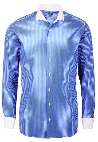 Blau gestreiftes Modern Cut Schaeffer Hemd mit Hai Kragen