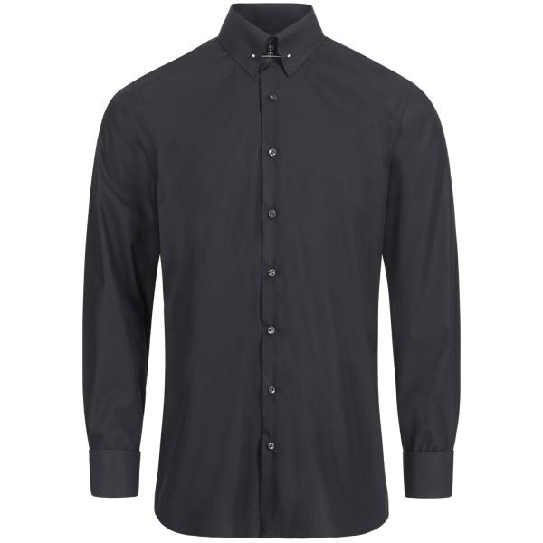 Schwarzes Regular Cut Premium Schaeffer Hemd mit Piccadilly Kragen