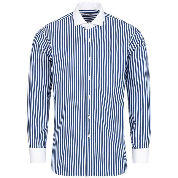 Blau gestreiftes Slim Fit Premium Schaeffer Hemd mit Hai Kragen