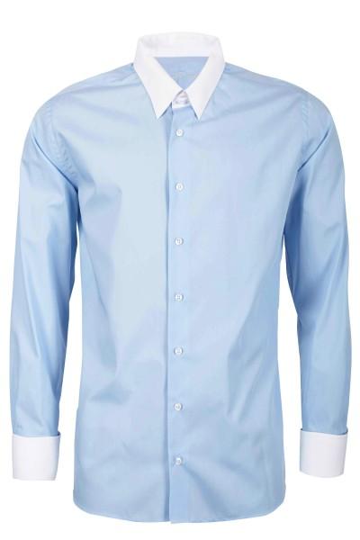 Hellblaues Modern Cut Schaeffer Hemd mit Tab Kragen