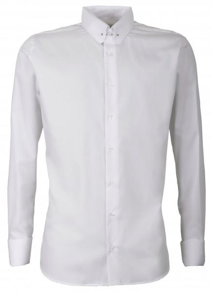 Weißes Modern Cut Schaeffer Hemd mit Piccadilly Kragen