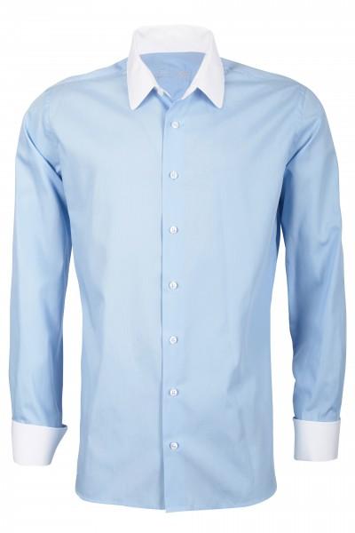 Hellblaues Slim Fit Schaeffer Hemd mit Eton Kragen