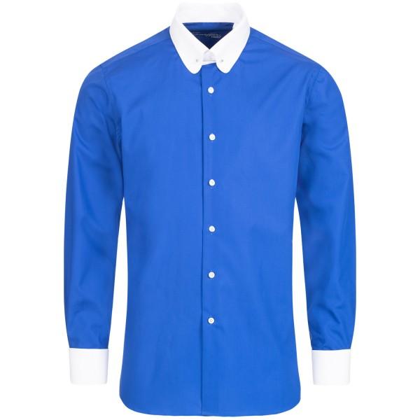 Blaues Modern Cut Schaeffer Hemd mit Piccadilly Kragen