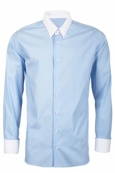 Hellblaues Slim Fit Schaeffer Hemd mit Tab Kragen