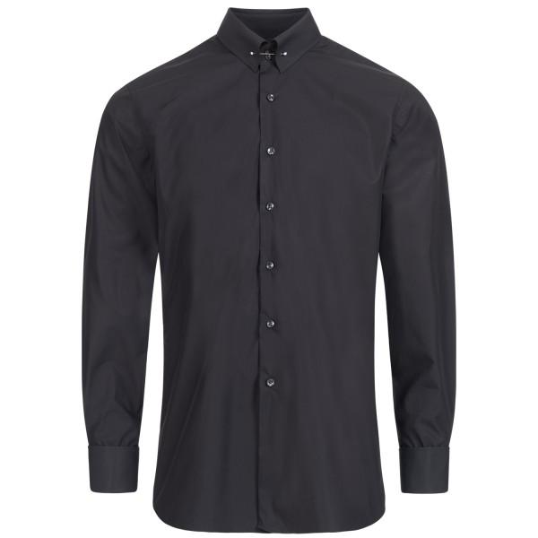 Schwarzes Slim Fit Premium Schaeffer Hemd mit Piccadilly Kragen