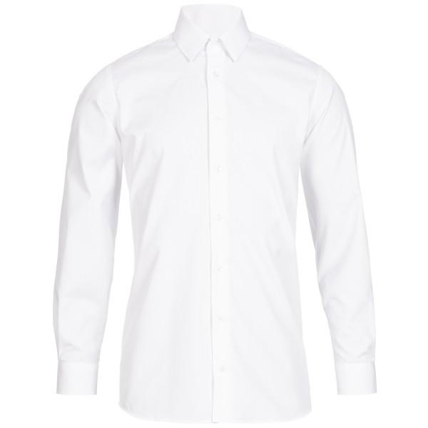 Weißes Modern Cut Schaeffer Hemd mit Hidden Button Down Kragen