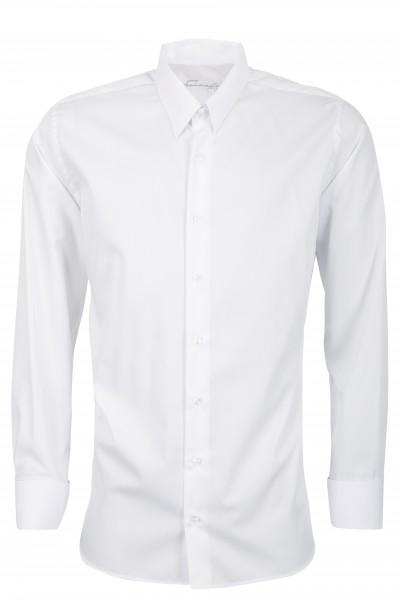 Weißes Slim Fit Schaeffer Hemd mit Tab Kragen