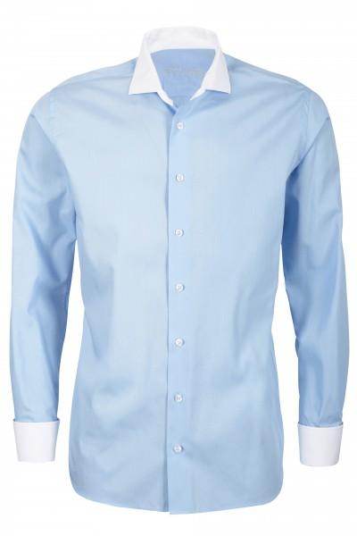 Hellblaues Modern Cut Schaeffer Hemd mit Hai Kragen