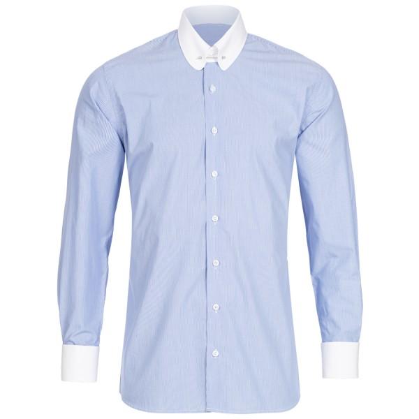 Blau fein gestreiftes Modern Cut Schaeffer Hemd mit Piccadilly Kragen