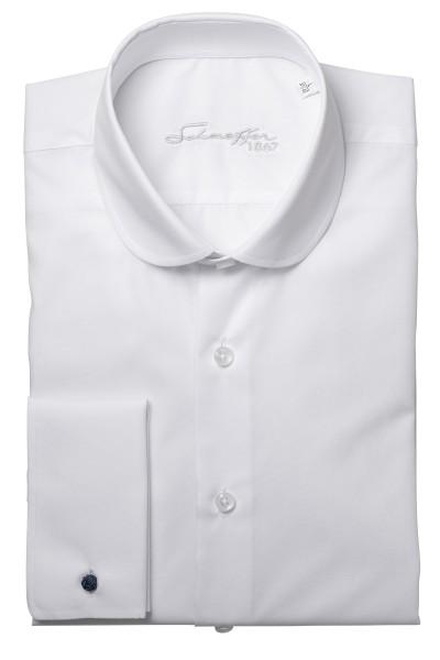 Weißes Slim Fit Schaeffer Hemd mit Club Kragen