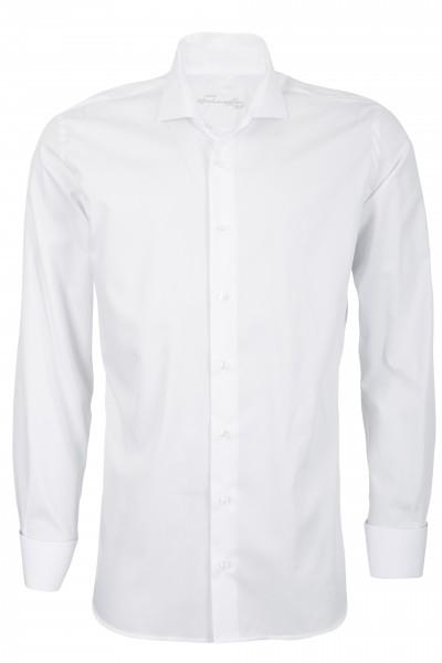Weißes Slim Fit Schaeffer Hemd mit Hai Kragen