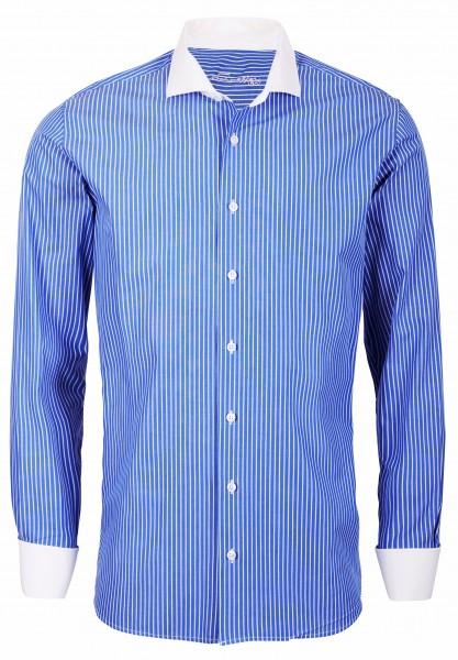 Blau gestreiftes Slim Fit Schaeffer Hemd mit Eton Kragen