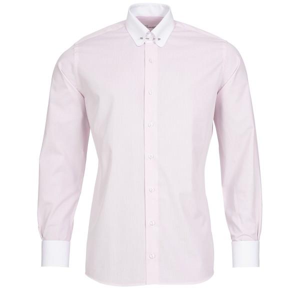 Rosé gestreiftes Slim Fit Schaeffer Hemd mit Piccadilly Kragen