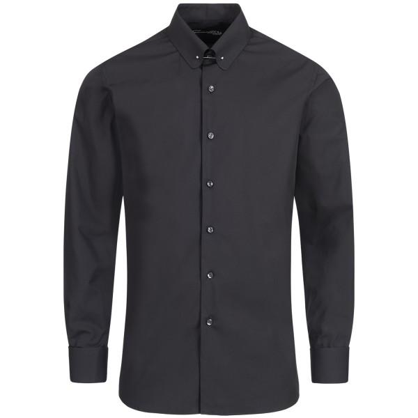 Schwarzes Regular Cut Schaeffer Hemd mit Piccadilly Kragen