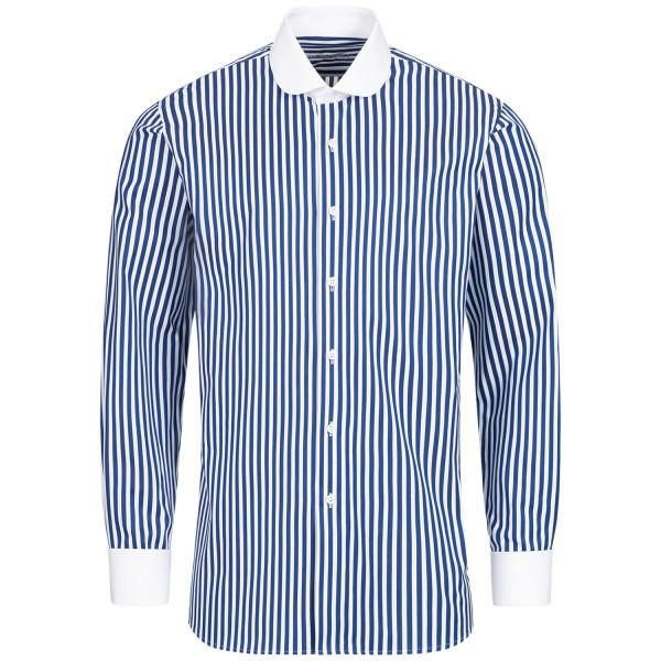 Blau gestreiftes Regular Cut Premium Schaeffer Hemd mit Club Kragen