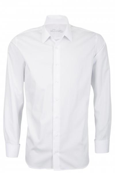 Weißes Slim Fit Schaeffer Hemd mit Eton Kragen