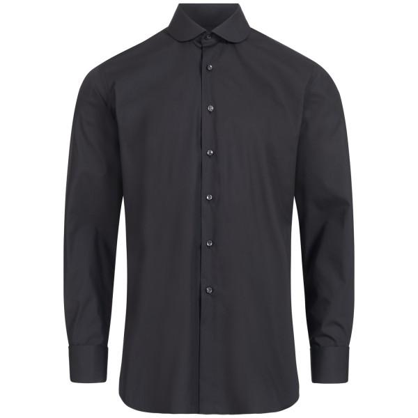 Schwarzes Modern Cut Schaeffer Hemd mit Club Kragen