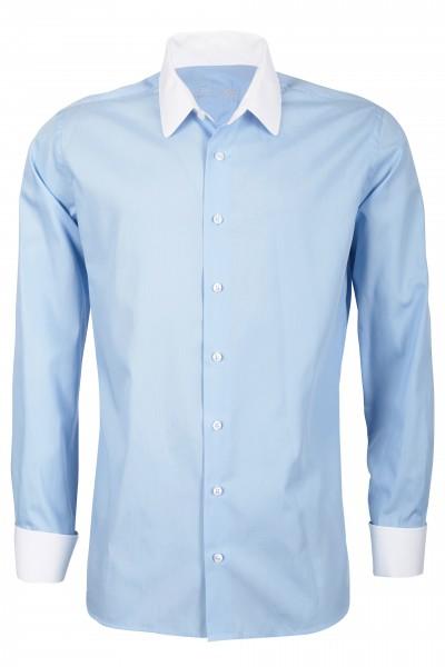 Hellblaues Modern Cut Schaeffer Hemd mit Eton Kragen