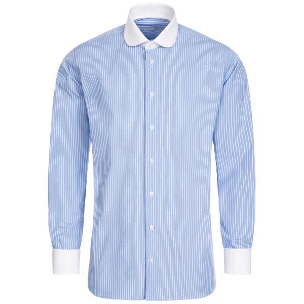 Hellblau gestreiftes Regular Cut Schaeffer Hemd mit Club Kragen