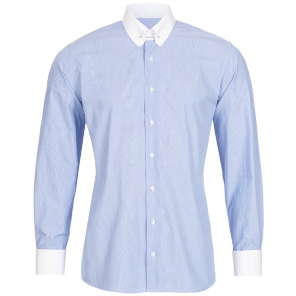 Blau fein gestreiftes Slim Fit Schaeffer Hemd mit Piccadilly Kragen