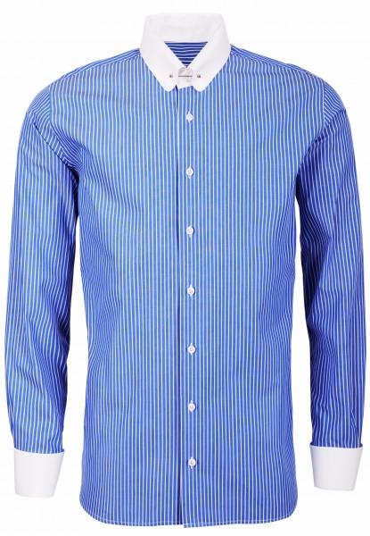 Blau gestreiftes Modern Cut Schaeffer Hemd mit Piccadilly Kragen