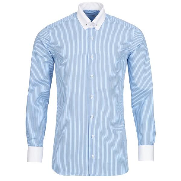 Hellblau gestreiftes Modern Cut Schaeffer Hemd mit Piccadilly Kragen