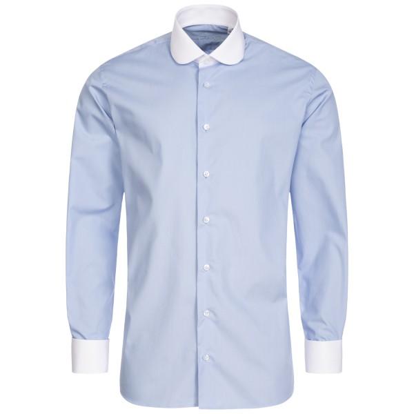 Hellblaues Regular Cut Schaeffer Hemd mit Club Kragen