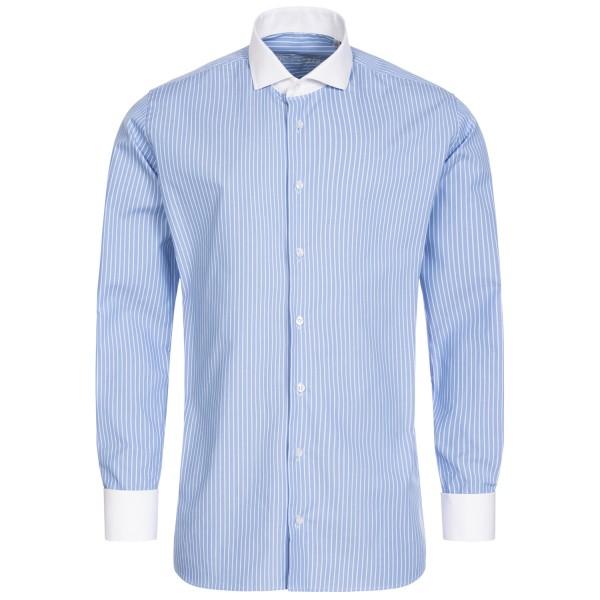 Hellblau gestreiftes Slim Fit Schaeffer Hemd mit Hai Kragen